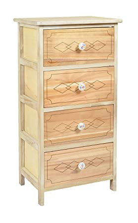 ts-ideen cómoda cajonera estanteria empunaduras de ceramica color natural madera crudo