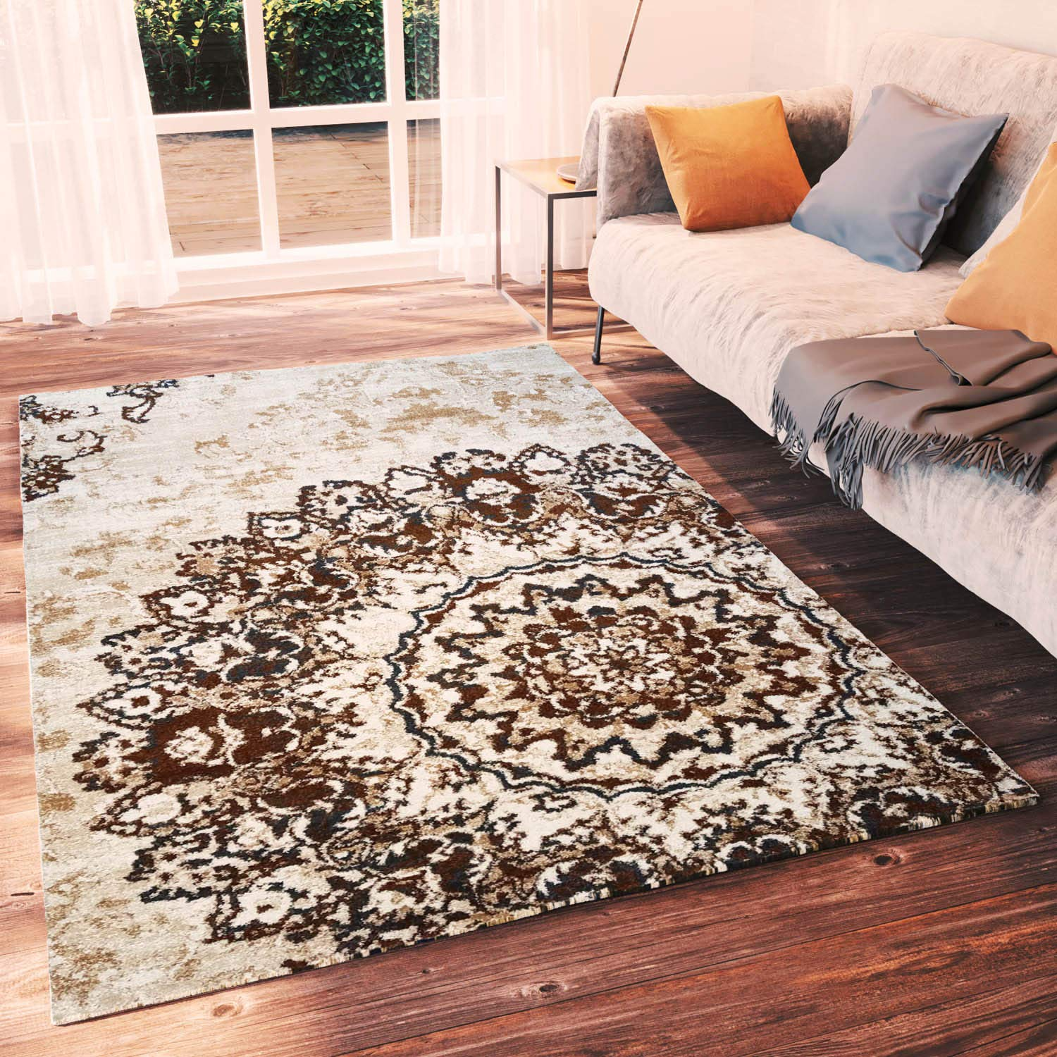 Amazon Com Super Area Rugs Neutral Distressed Medallion Damask