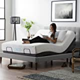 LUCID L300 Adjustable Bed Base 5 Minute Assembly-Dual USB Charging Stations Head and Foot Incline-Wireless Remote Control-Upholstered-Ergonomic, Queen, Charcoal