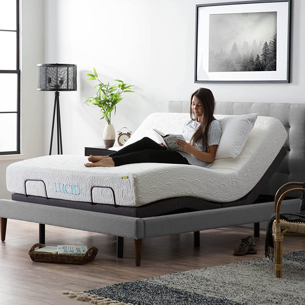 LUCID L300 Adjustable Bed Base - 5 Minute Assembly - Dual USB Charging Stations - Head and Foot Incline - Wireless Remote Control - Upholstered - Ergonomic - Queen - Charcoal