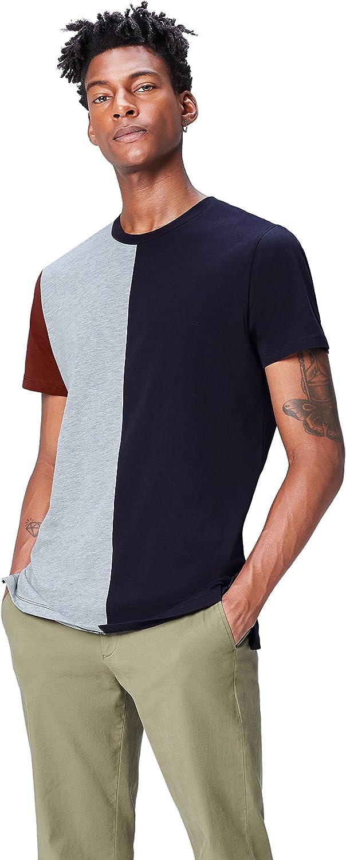 Marca Amazon - find. Camiseta con Bloques de Color para Hombre