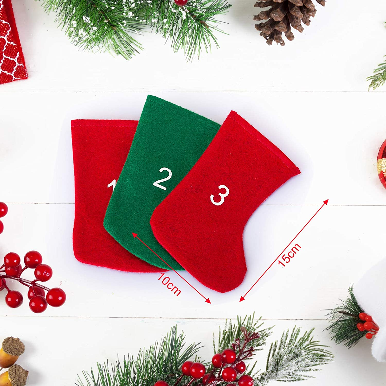 LIHAO 24x Adventskalender zum Bef/üllen Aufh/ängen S/äckchen 24 Beutel Socke Kette Weihnachten Deko Filz Strumpf Rot Gr/ün 10 x 15cm MEHRWEG
