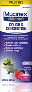 Congestion and Cough, Mucinex Children's Congestion & Cough Liquid, Berrylicious, 6.8oz, Value Size for chest congestion relief, stuffy nose relief, mucus, and cough control