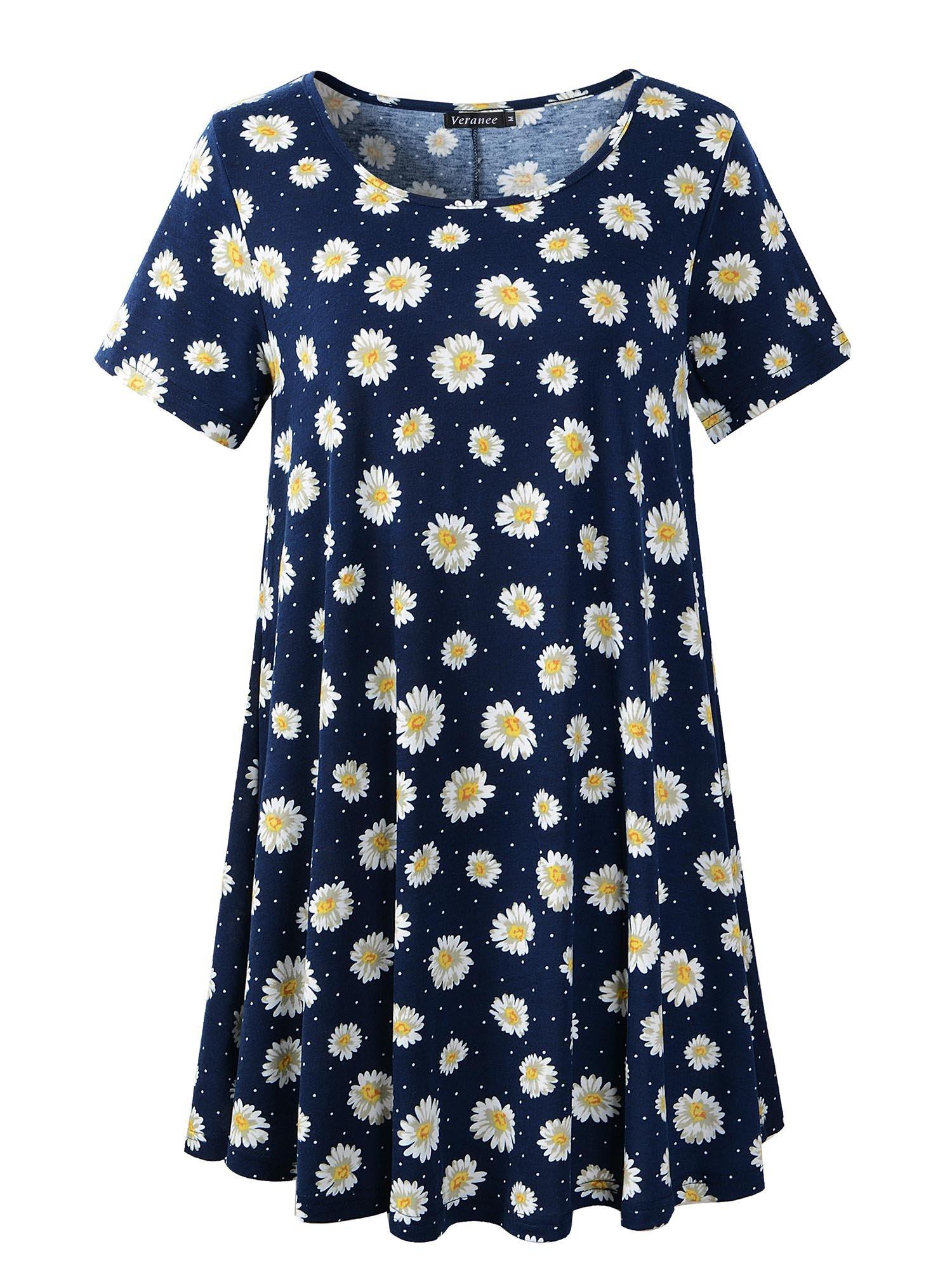 e2d42a45f Galleon - Veranee Women's Plus Size Swing Tunic Top Short Sleeve Floral  Flare T-Shirt (Medium, 56-3)