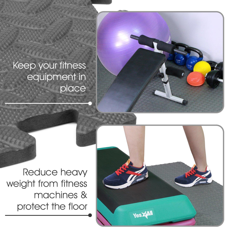 Yes4All Interlocking Exercise Foam Mats with Border – Interlocking Floor Mats for Gym Equipment – Eva Interlocking Floor Tiles (Gray) by Yes4All (Image #7)