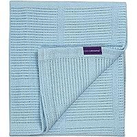 ClevaMama Baby Cellular Blanket - Pram and Basket 70x90 cm, 100% Cotton - Blue