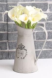 Fiori artificiali quasi naturale calla Lily bridal wedding bouquet (20, bianco)