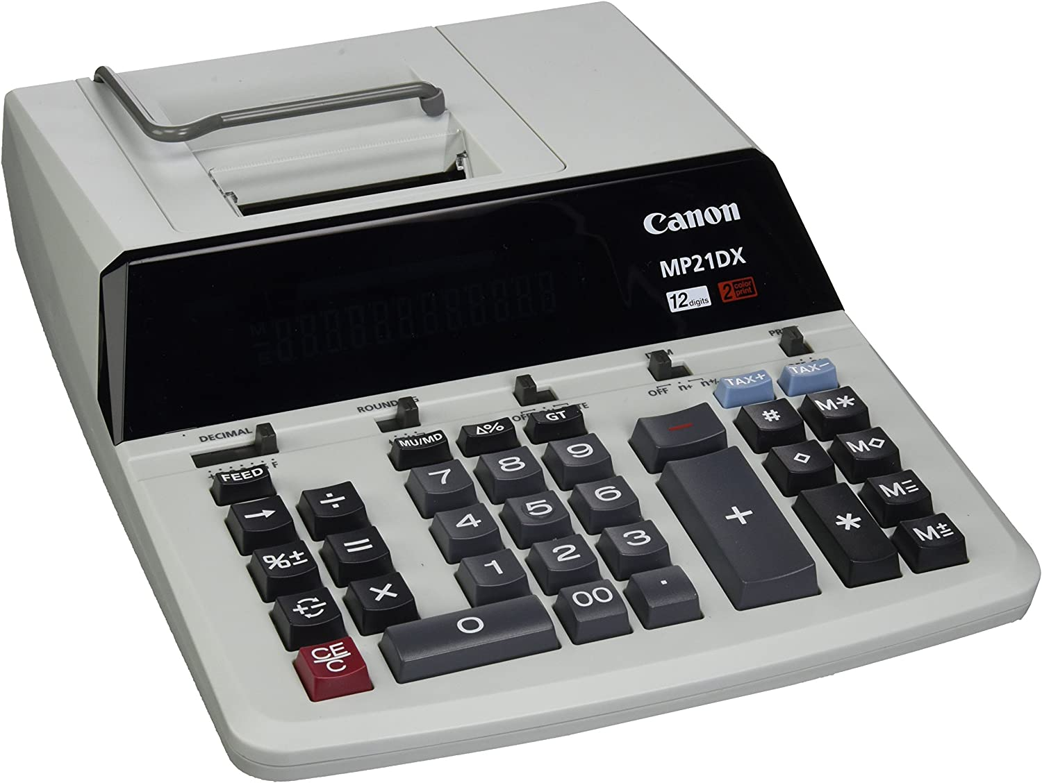 "Canon CNMMP21DX Color Printing Calculator, AC Supply Powered, 3.7"" x 9"" x 12.2"", White, 1 Each"