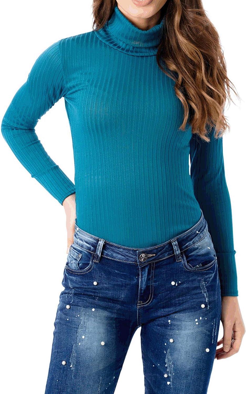 FASHIONGYAL UK Long Sleeve Bodysuit for Women Plus Size Going Out high Neck Bodysuit D73