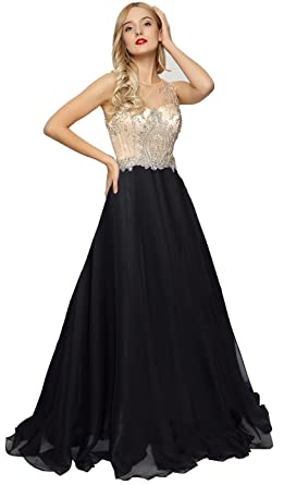 Meier Womens Sheer Beaded Illusion Prom Gowns Homecoming Party Dresses (Black, 6)