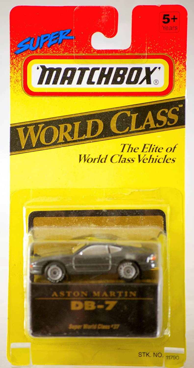 1993 - Tyco Toys Inc - Super Matchbox - World Class Series  37 - Aston Martin DB-7 / Metallic grau - 1:64 Scale Die Cast Metal - MOC - Out of Production - Limited Edition - Collectible by Matchbox