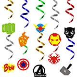 PANTIDE 30Pcs Superhero Hanging Swirl Decorations|Whirls Glitter Foil Ceiling Swirls Streamers Party Supplies…
