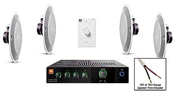 JBL 8138 altavoz de techo Bundle con JBL CSMA 180 mezclador amplificador y accesorios – restaurante