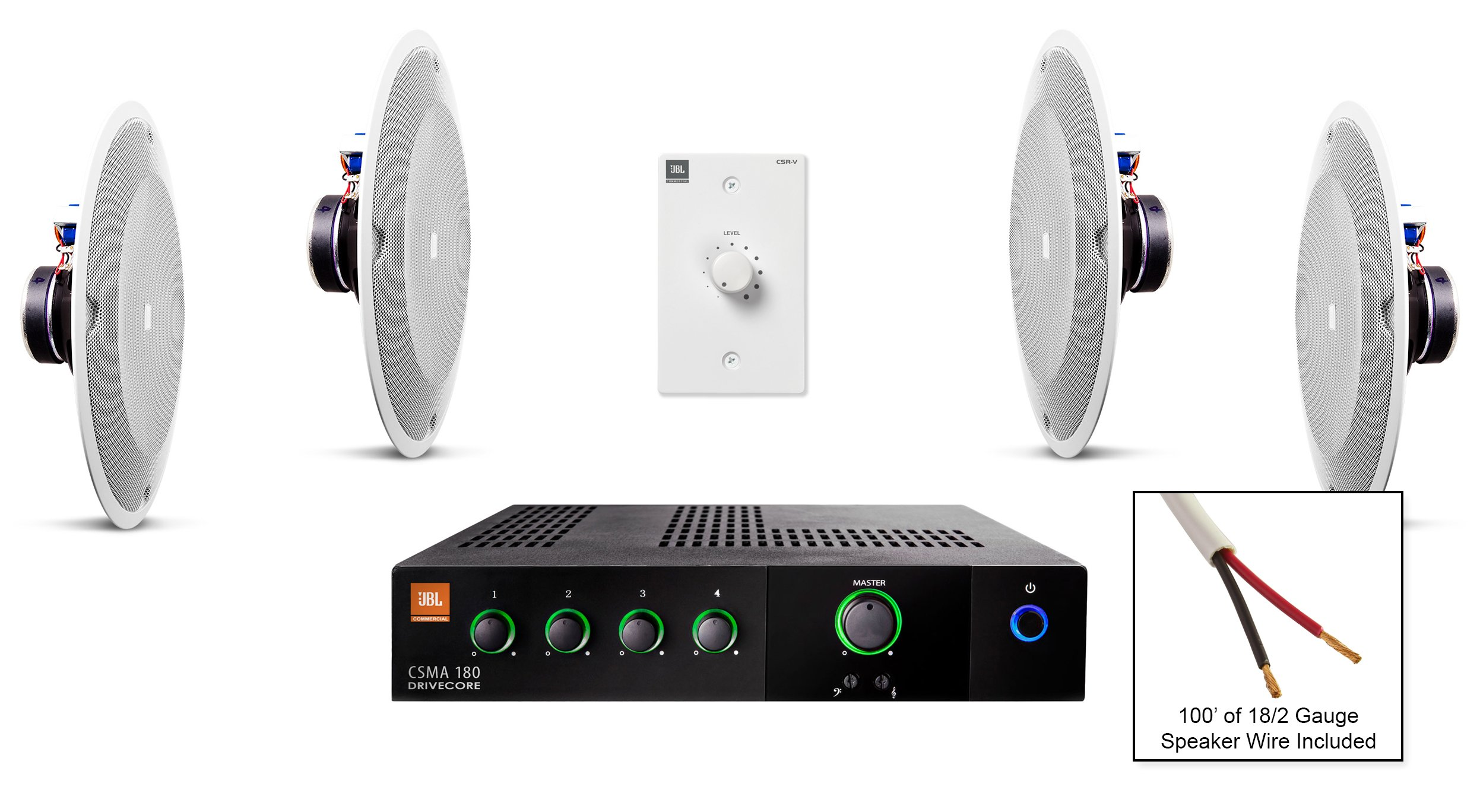 JBL 8138 In-Ceiling Loudspeaker Bundle with JBL CSMA 180 Mixer Amplifier and Accessories - Restaurant Sound System (15 Items)