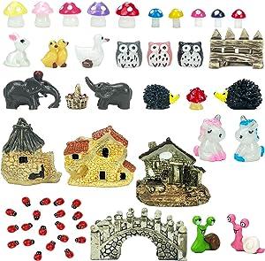 51 PCS Miniature Fairy Garden Accessories, Including Miniature Fairy Garden House and Miniature DIY Landscape Ornaments for House Decor ?Potted Plant Bonsai Terrarium Decor