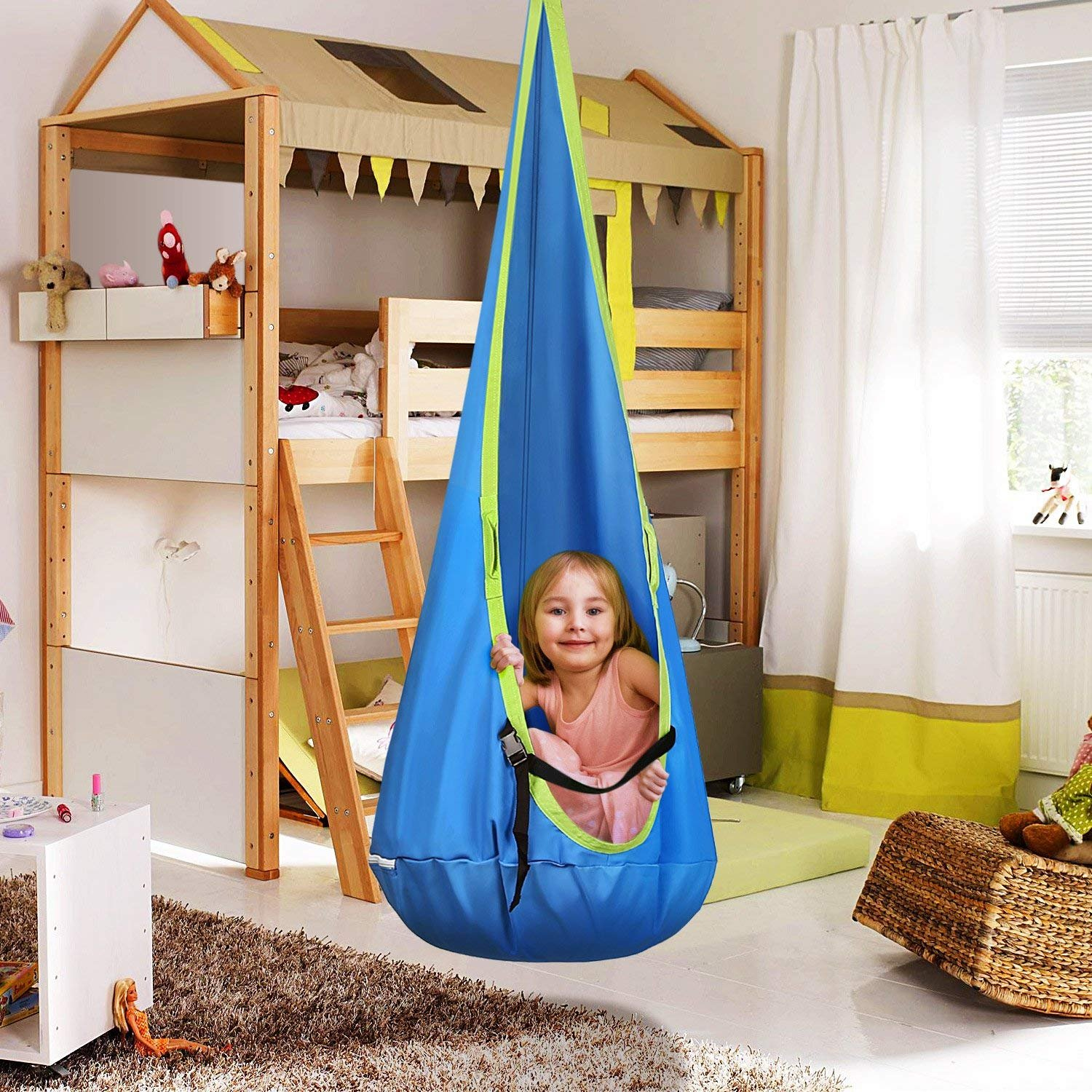 INTEY Hanging Cave Kids Hanging Chair with Hook and Hanging Ropes, Hanging Sack as Cuddly Cave or Gymnastics Unit for Kids, Blue/Green by INTEY-US (Image #6)