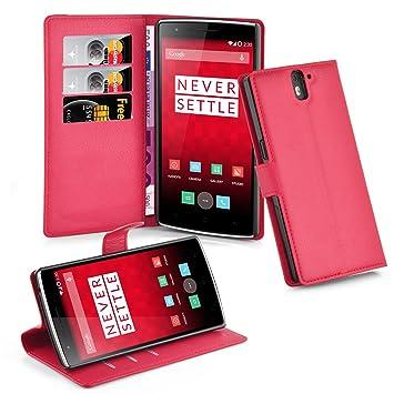 Cadorabo Carcasa para OnePlus One Móvil En Color Rojo Carmín Funda con Tarjetero y función Atril Case Cover Carcasa Funda Book Style Carmín de Color ...