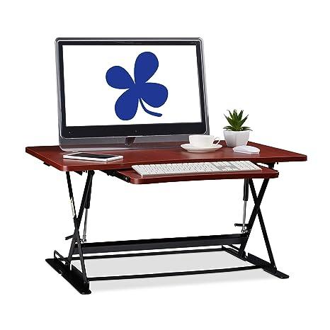 Relaxdays Soporte Monitor y Portátil para Trabajar de Pie con Bandeja para Teclado, DM,