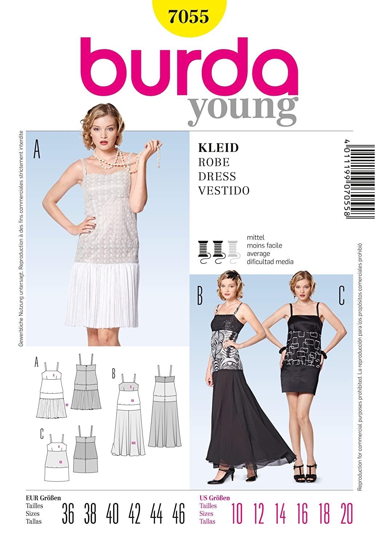 Amazon.com: Burda Young Sewing Pattern 7055 - Misses\' Dress, Close ...
