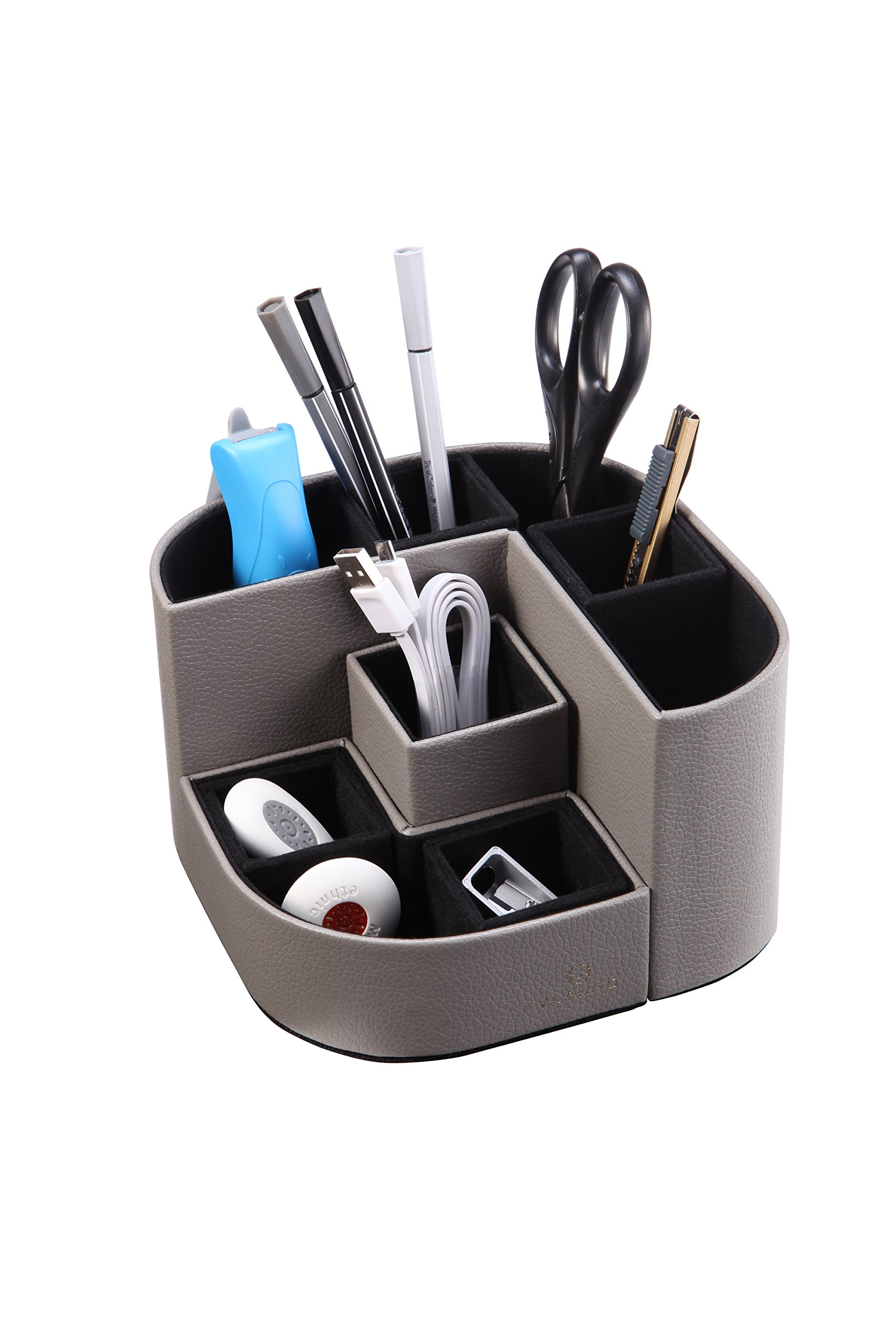 VPACK F04 Magnetic Pen Holder, Durable PU Desk Organizer with 7 Multi Functional Compartments for all Office Supplies -Grey