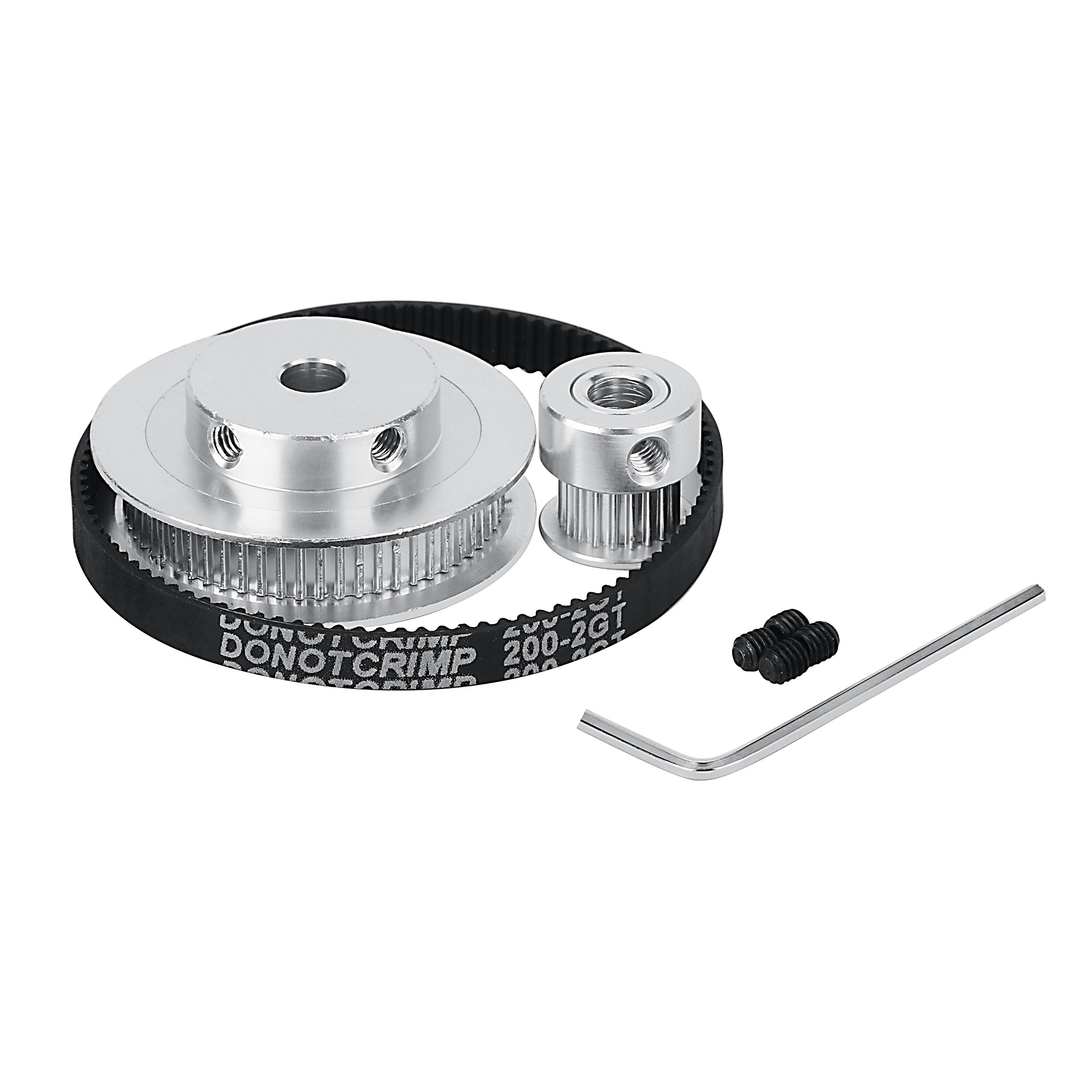 2GT Timing Belt Pulley Kits, GT2 Timing Belt Closed-Loop 200mm 6mm Wide+ 20 Teeth and 60 Teeth Aluminum Timing Pulley Wheel + Allen Wrench for 3D Printer Accessories