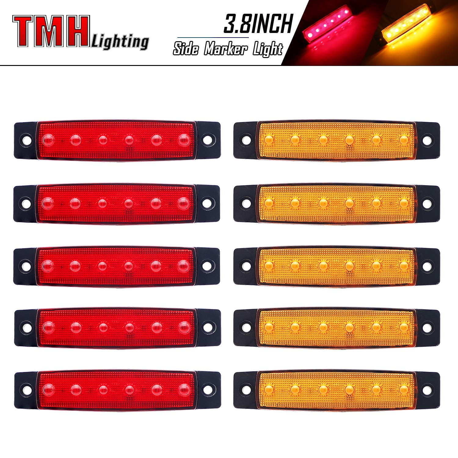 5 + 5 Trailer marker lights Marker light amber Truck cab marker lights Rear side marker light 10 pcs TMH 3.8 6 LED Red /& Amber Side Led Marker RV marker light Led marker lights for trucks