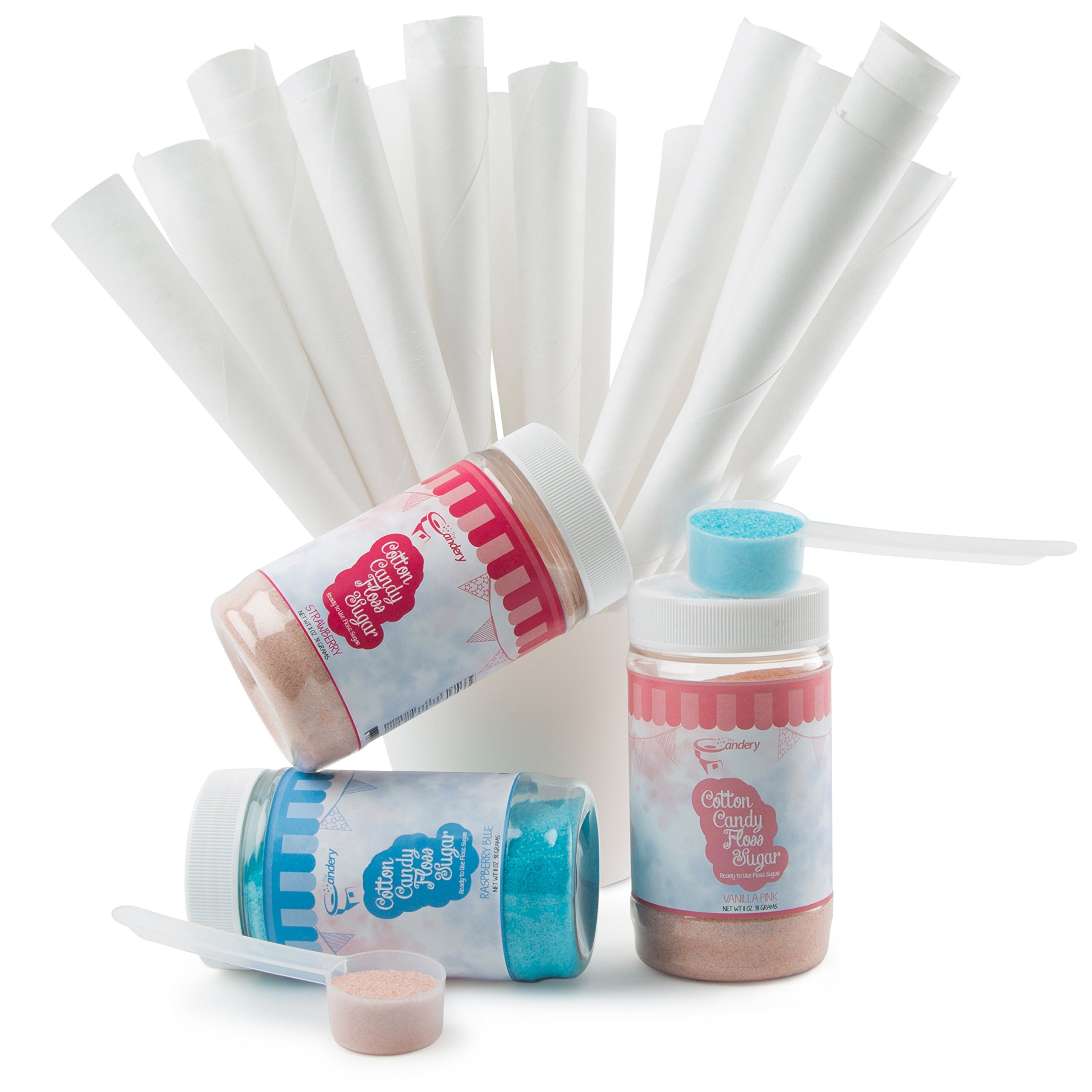 The Candery Cotton Candy Machine and Sugar Kit - Includes 50 Paper Cones & 3 Flavors & Sugar Scoop - Raspberry Blue, Strawberry, Vanilla - Kid-Friendly and Easy-to-Assemble by The Candery (Image #1)