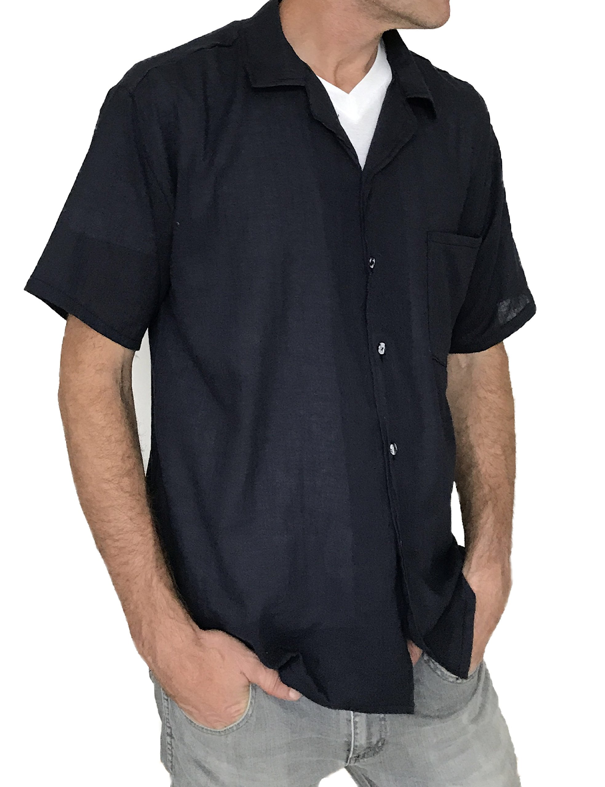 Love Quality Men's Button Shirt Light Weight 100% Cotton Hippie Casual Shirts (Large, Navy)