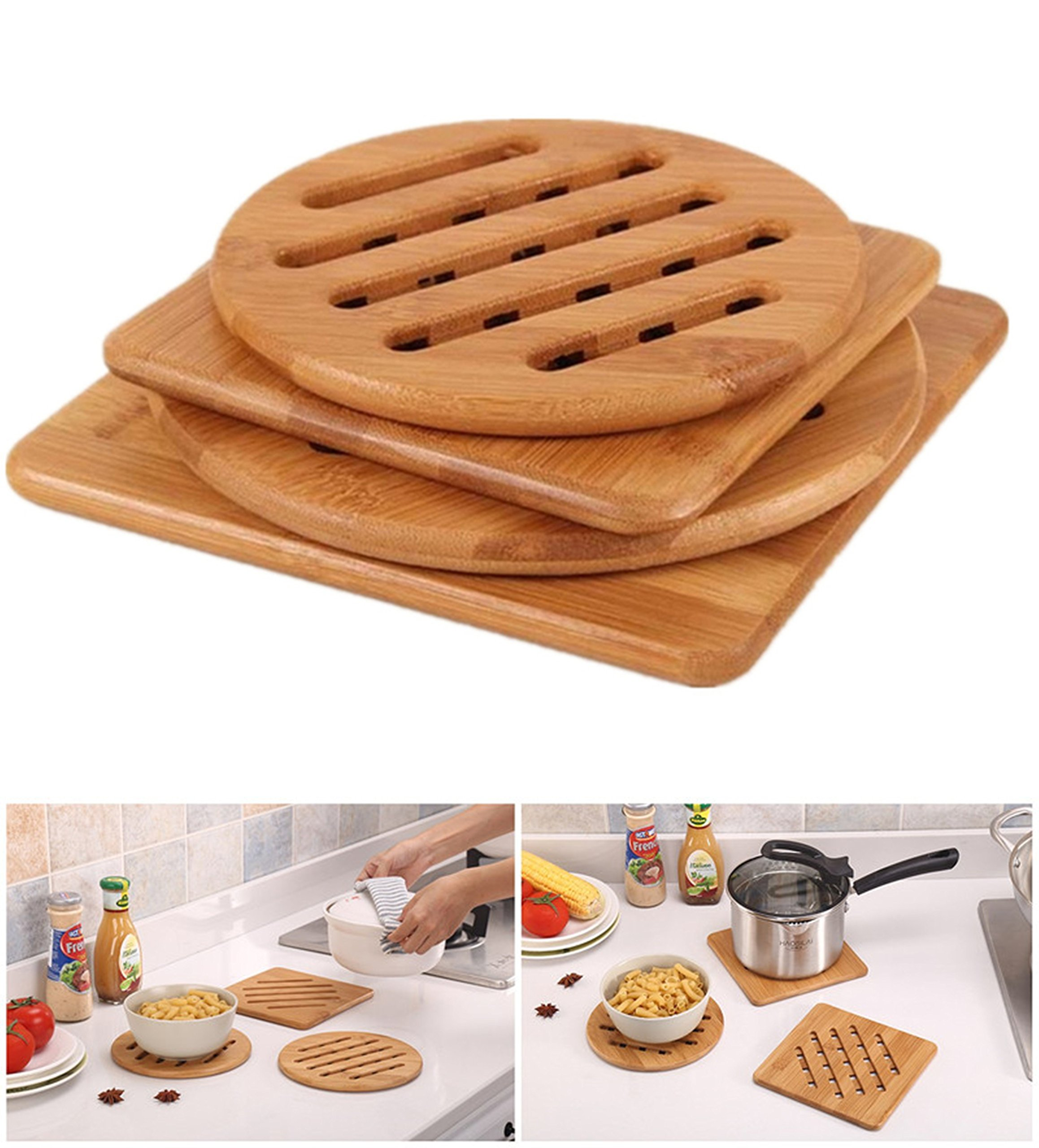 Bamboo Trivet, Weikai Home Kitchen Bamboo Hot Pads Trivet, Heat Resistant Pads Teapot Trivet, Square and Round (Multi-size, Pack of 4) by Weikai