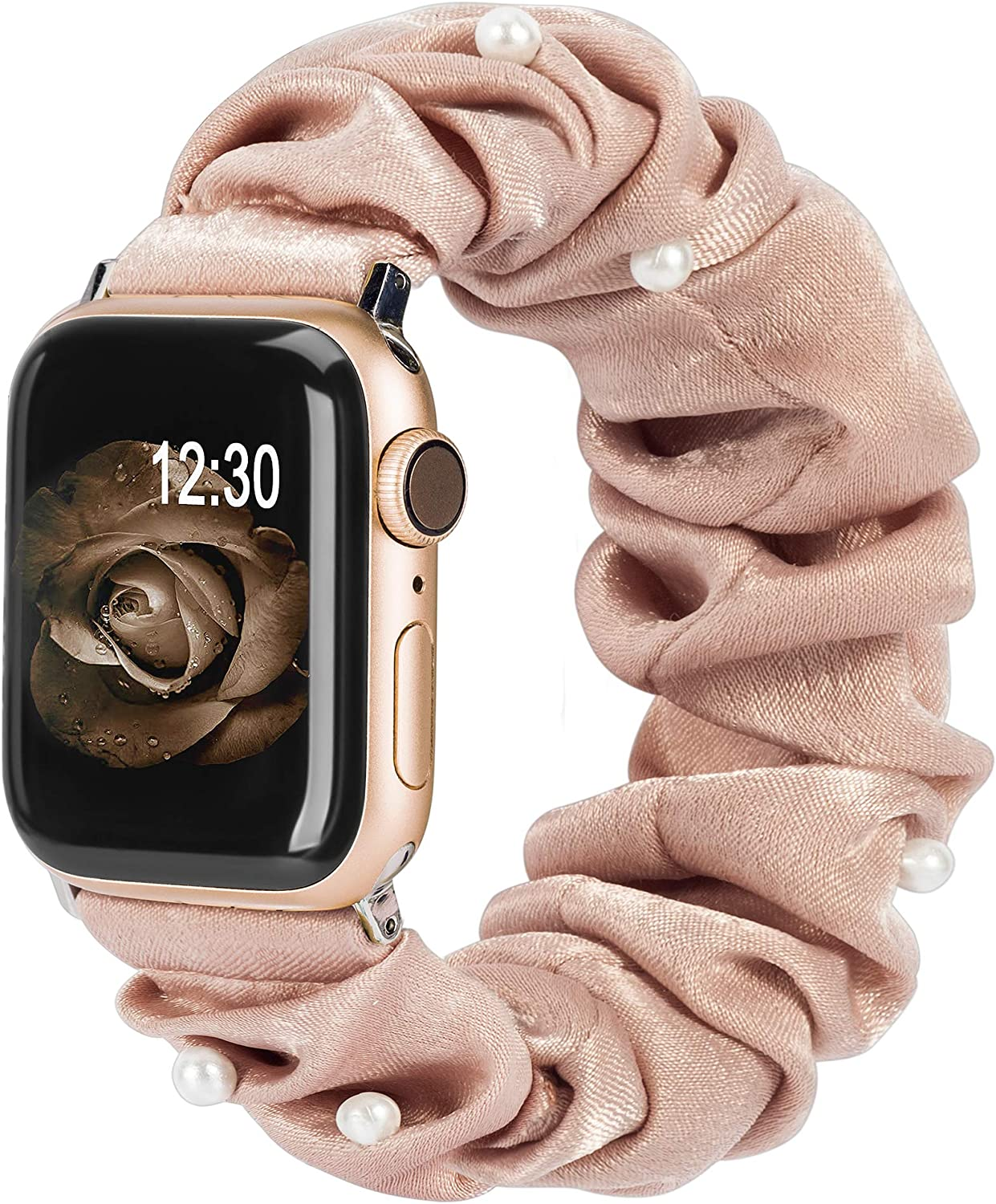 TOYOUTHS Compatible with Apple Watch Band Scrunchies 38mm Cloth Soft Pattern Printed Fabric Wristband Bracelet Women Rose Gold IWatch Cute Elastic Scrunchy Bands 40mm Series SE 6 5 4 3 2 1