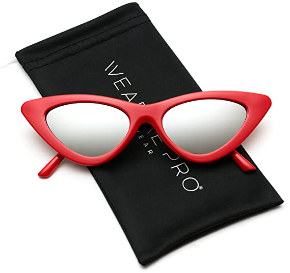 WearMe Pro - Retro Vintage Tinted Lens Cat Eye Sunglasses (Red Frame/Mirror Silver Lens, 51)