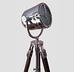 Authentic Searchlight Telescope Tripod Floor Lamp Hollywood Gift Chrome Nickel Finish