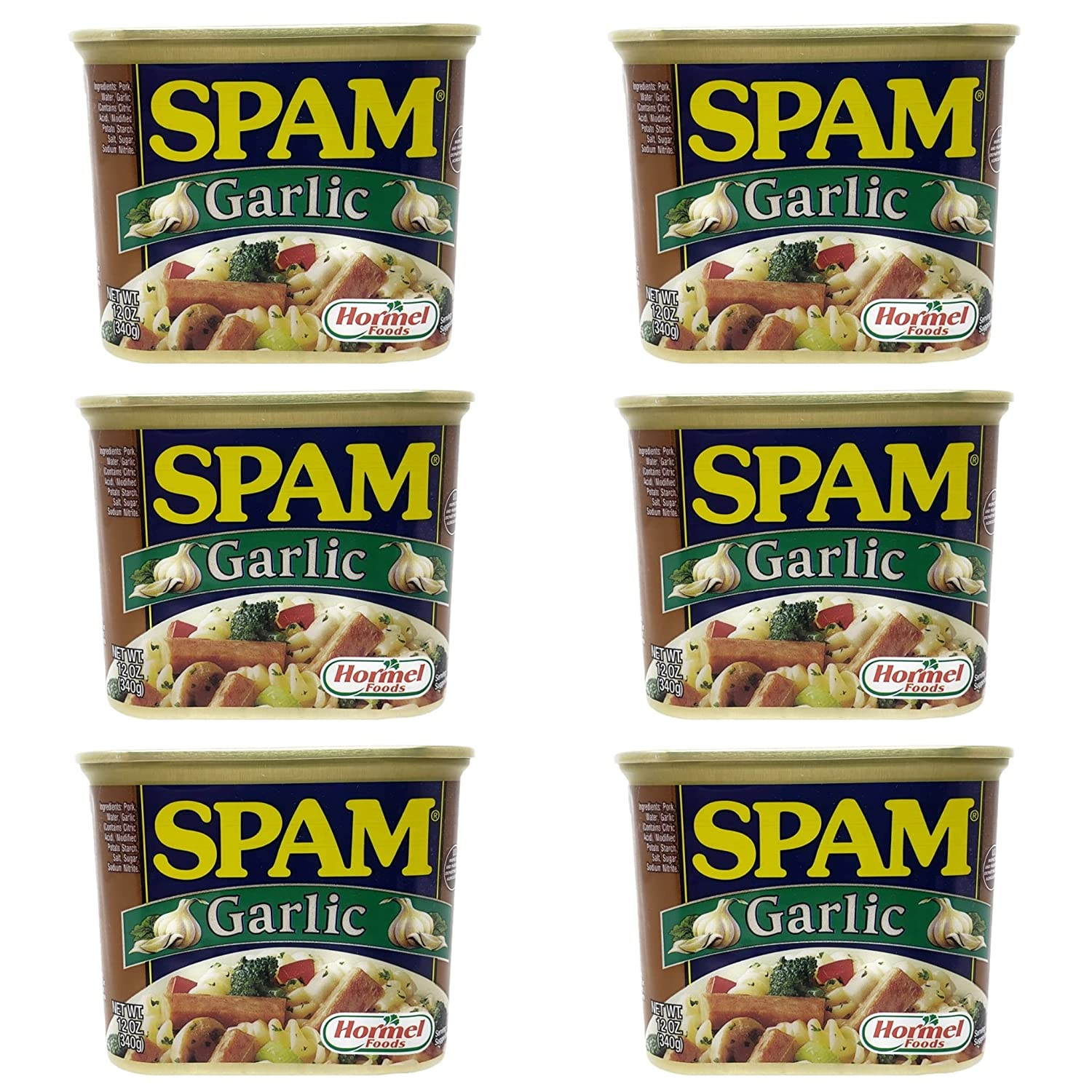 Hormel Foods Garlic Spam - 12 oz Per Can - Fully Cooked Ready to Eat Cold or Hot - Choose a 4 Pack, 6 Pack, or 12 Pack (6 Pack)