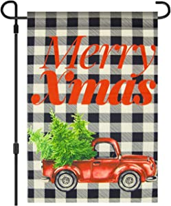 VICHFA Merry Christmas Garden Flag - White Black Plaids Vertical Double Sided Home Decorative, Rustic Winter Garden Yard Decorations, New Year Seasonal Outdoor Flag 12 x 18