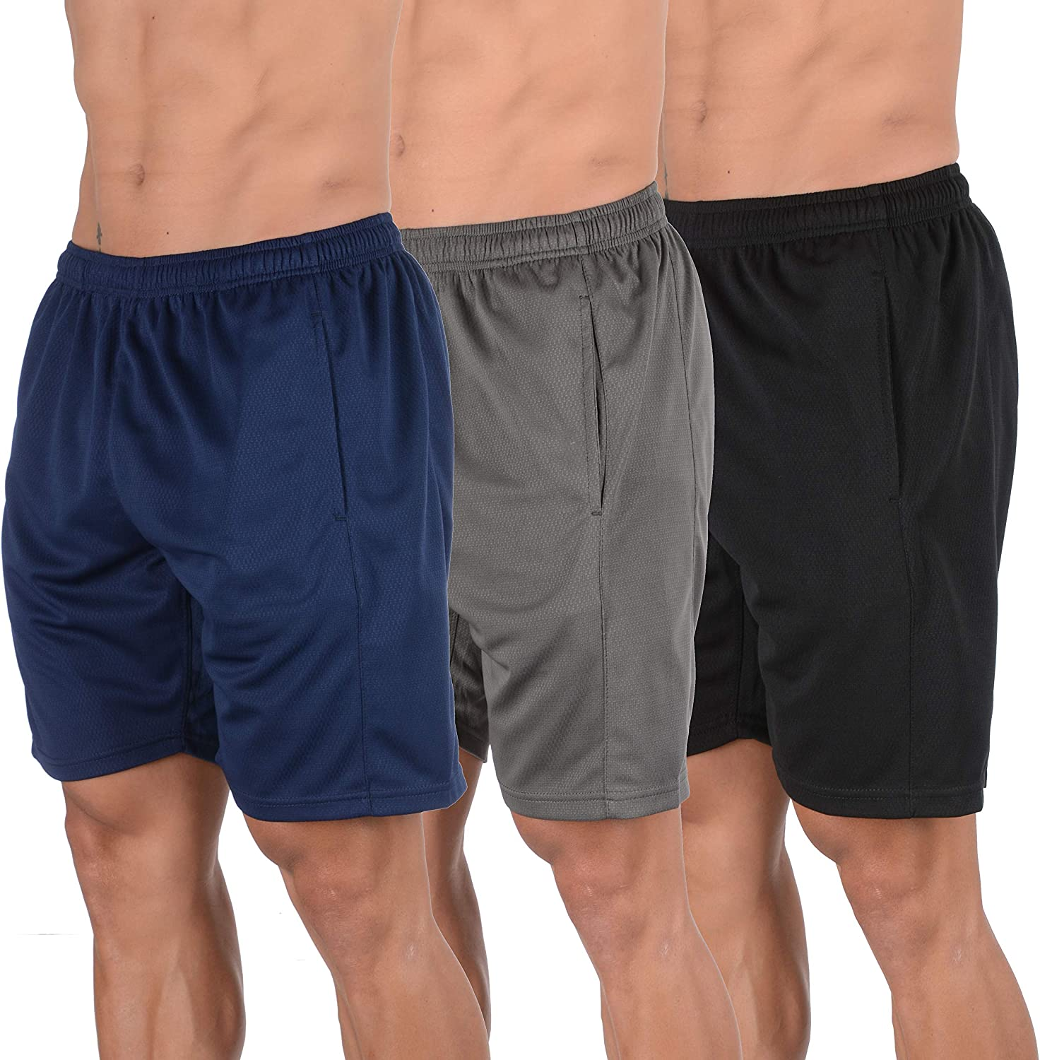 YoungLA Mens Shorts Pack of 3 Athletic Basketball Gym Workout Running 116: Clothing