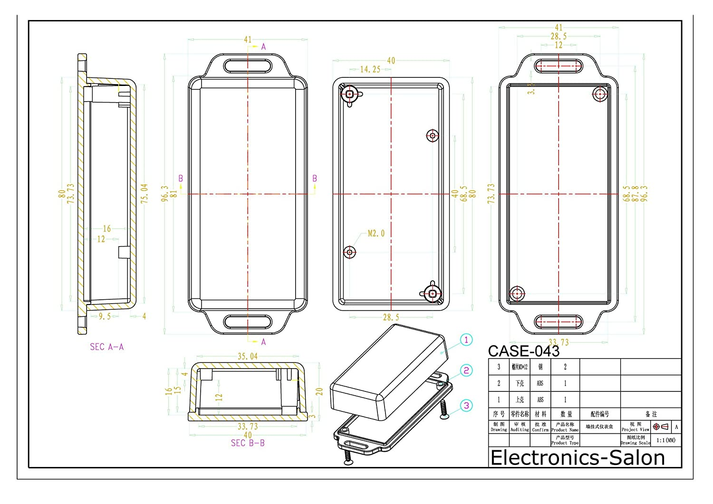 043-A2 5PCS Small Wall-mounting Plastic Enclosure Box Case 81x41x20mm Black