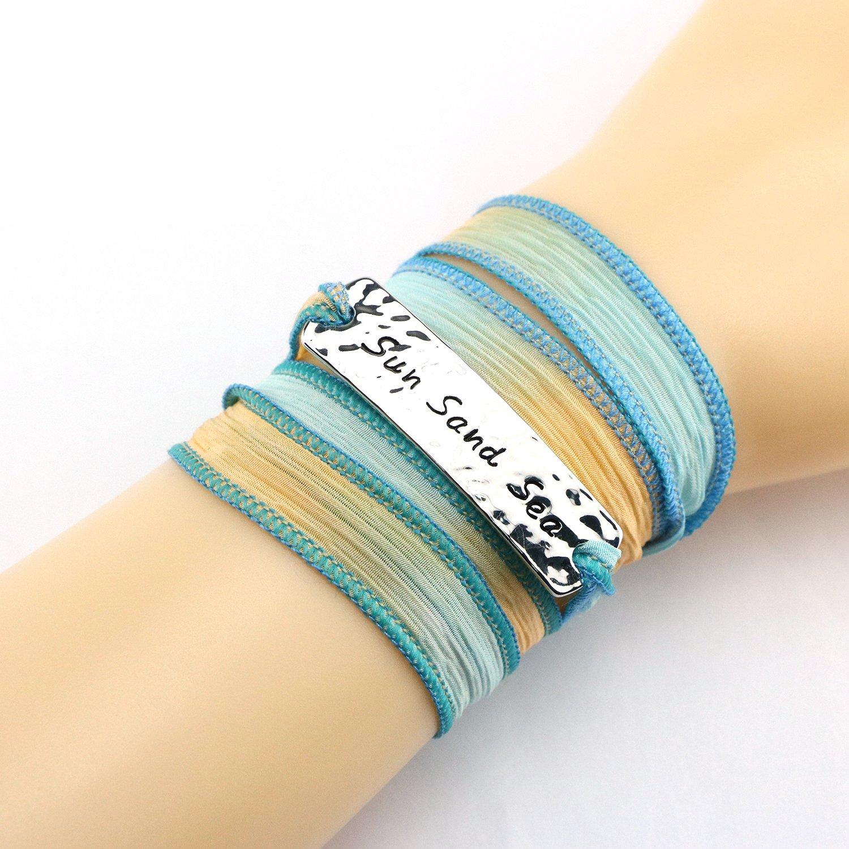 Yiyang Sun Sand Sea Beach Bracelet for Surf Girls Inspirational Beach Life Summer Jewelry Vacation Gifts for Women