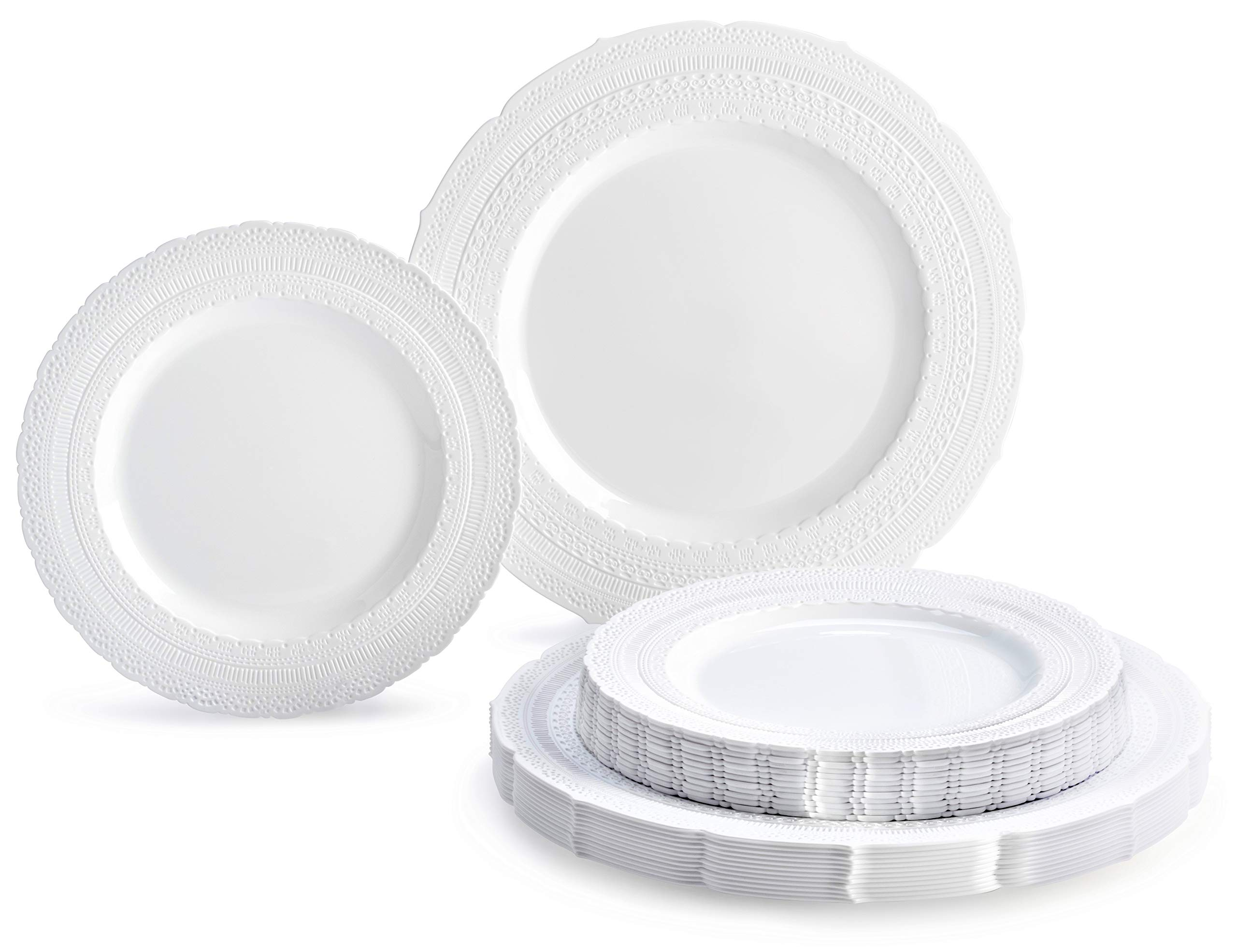 '' OCCASIONS'' 240 PACK Extra Heavyweight Vintage Wedding Party Disposable Plastic Plates Set - 120. x 11'' Dinner + 120 x 8.25'' Salad/Dessert Plate (Chateau White)