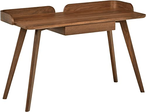 Rivet Mid-Century Curved Wood Table Home Office Computer Desk, 48.4 L, Walnut