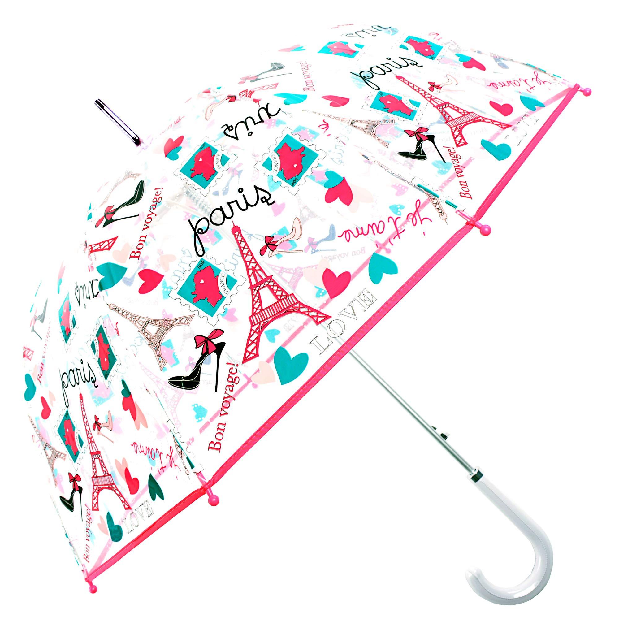 Kung Fu Smith Eiffel Clear Bubble Umbrella, Windproof Transparent Dome Umbrella Shape & Auto Open