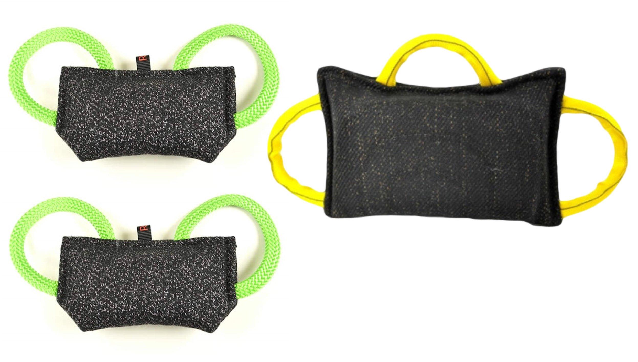Bundle 1 - 3 Handle Bite Pillow (15.5'' X 9.75'') 2 - 2 Handle Puppy Bite Pillow (9.5'' X 4.75'') French Linen - Redline K9