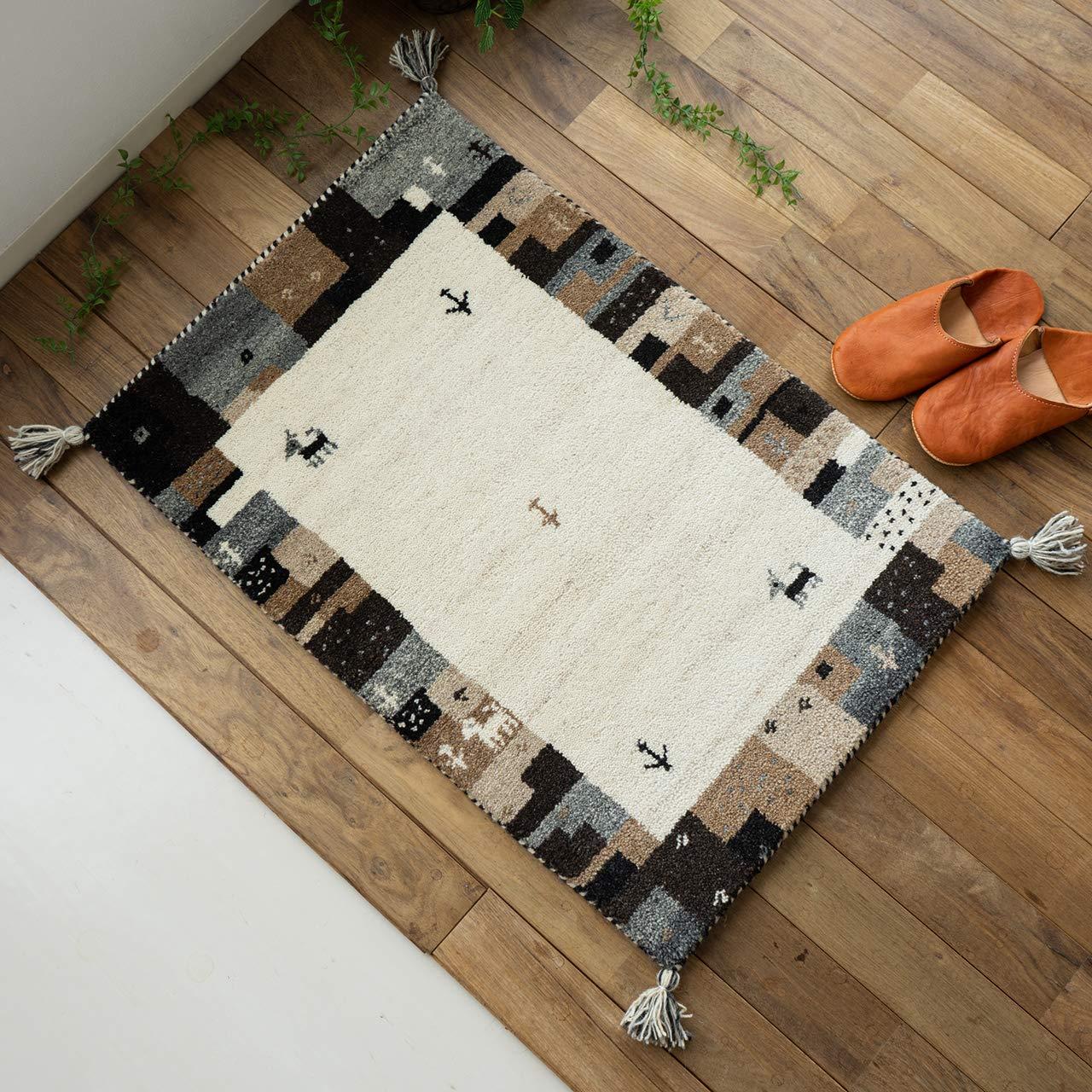 おしゃれ 手織り 屋内 室内 無染色 ギャベ ギャッベ 玄関マット HG919 ナチュラル フレーム 70x120 cm ウール 100% B07HR7LDWB フレーム919 70x120cm