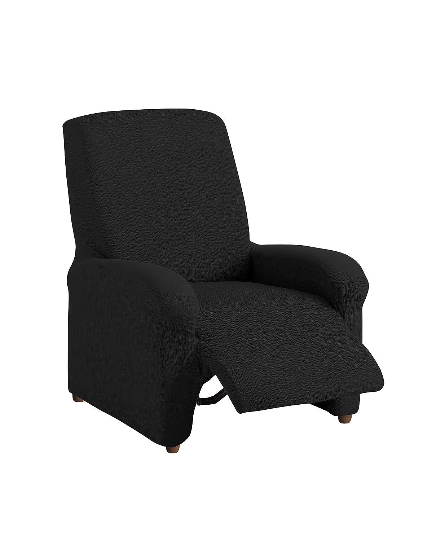 textil-home Funda de Sillón Elástica Relax Completo TEIDE, Tamaño 1 Plaza -Desde 70 a 100Cm. Color Negro