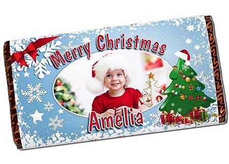 Christmas Ideas For Kids Girls.Personalised Merry Christmas Eve 114g Milk Chocolate Photo Bar Girls Boys Kids Mum Dad Xmas Stocking Fillers Gift Ideas Present N51
