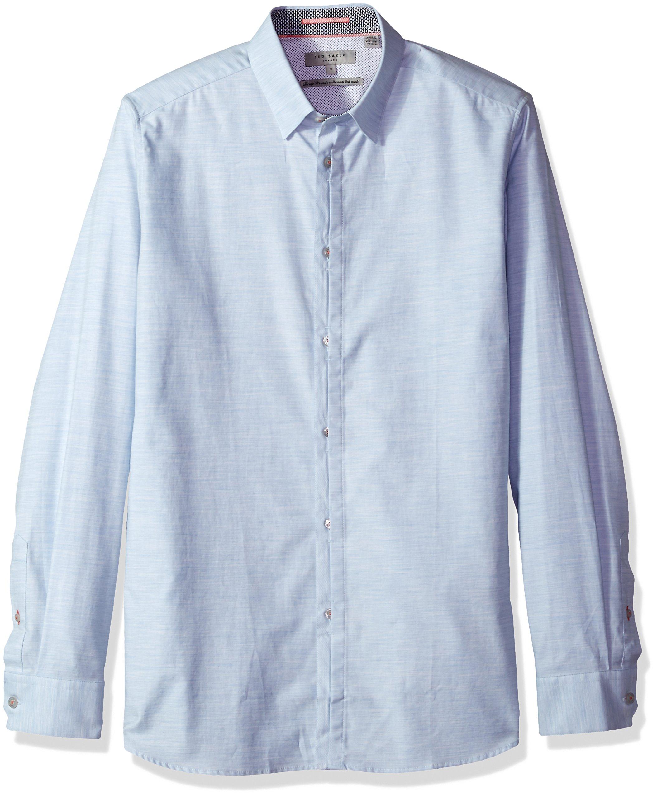 Ted Baker Men's Annisy Modern Slim Fit LS Marl Cotton Shirt, Light Blue, 7