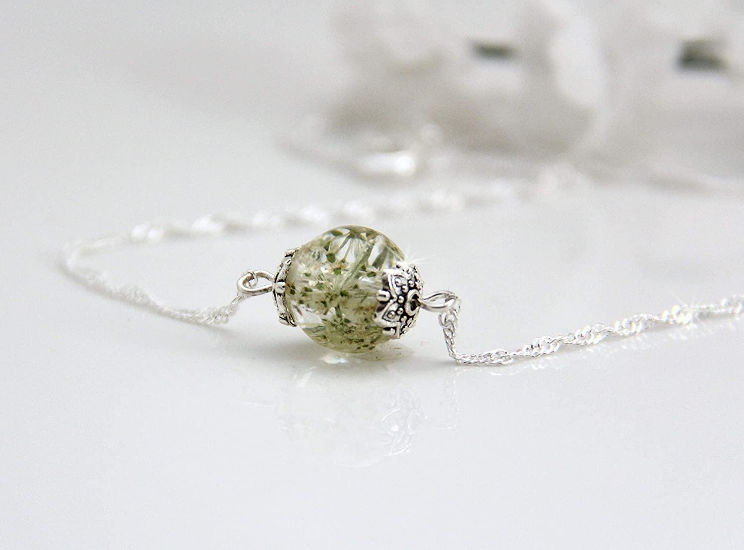 Single Bead Handmade Sterling Silver Resin Queen Anne's Lace Necklace