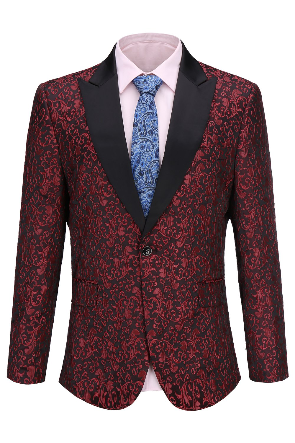FISOUL Mens Suit Floral Party Dress Suit Stylish Dinner Tuxedo Jacket Wedding Blazer