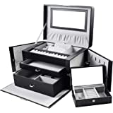 GUKA Jewelry Box for Women, Jewerly Case with 2 Drawers, Leather Design Lockable Jewelry Case with Mirror, Travel Case, for N
