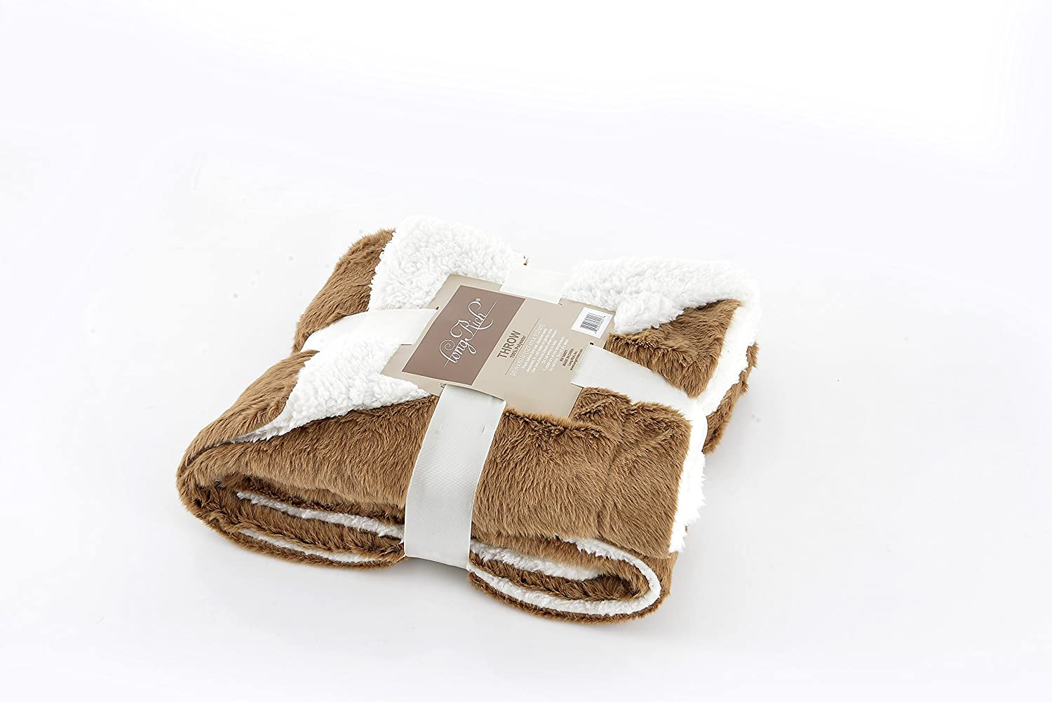 Longrich Embossed Faux Fur Reversible Sherpa Throw Blanket, Beige