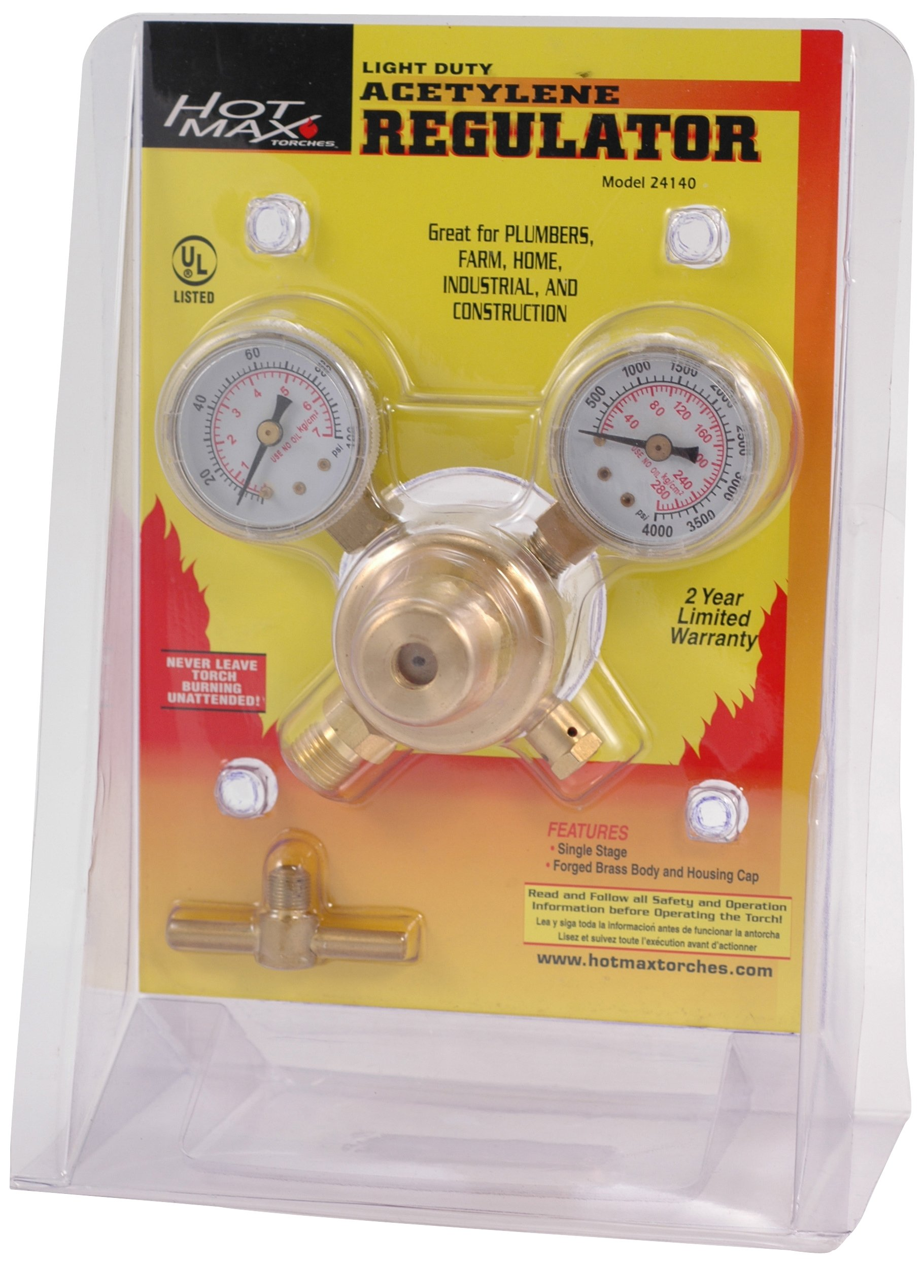 Hot Max 24141 4-60 PSIG Light Duty 045 Oxygen Regulator